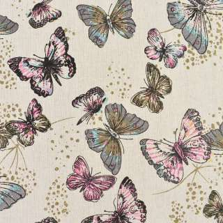 Деко-льон бежевий в сірі, рожеві метелики, ш.150