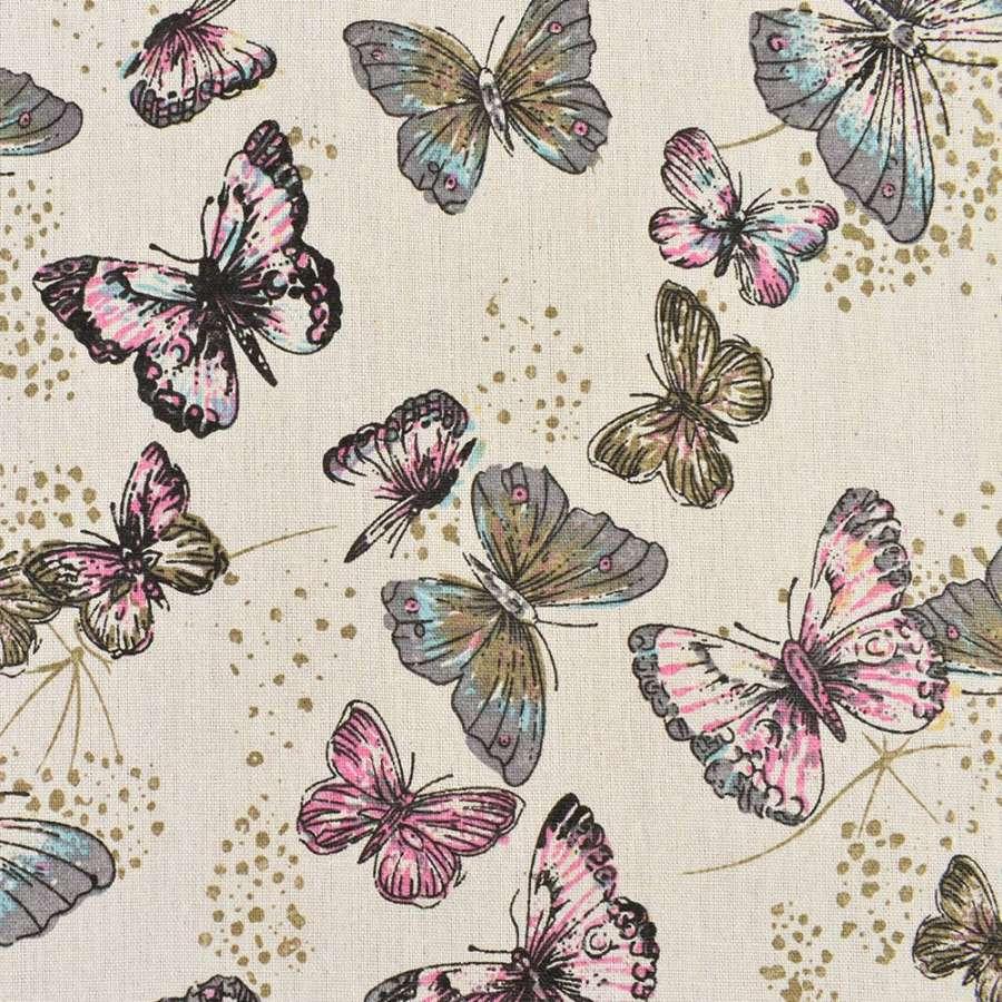 Деко-лен бежевый в серые, розовые бабочки, ш.150