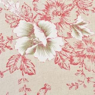 Деко-льон бежевий в малиново-білі квіти, ш.150