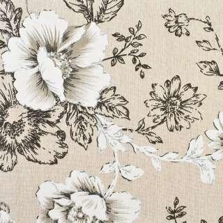 Деко-льон бежевий в чорно-білі квіти, ш.150