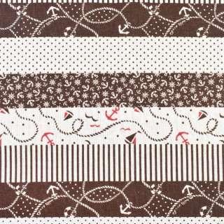 Деко-льон молочний в коричневі смуги з якорями, ш.150