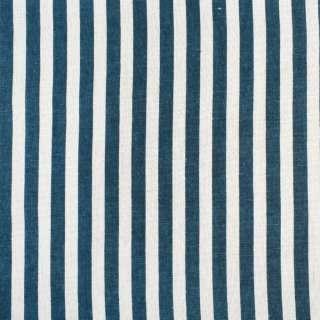 Деко-лен молочный в синюю полоску 10мм, ш.150