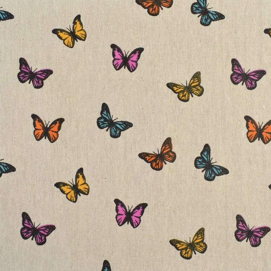 Деко-лен бежевый в разноцветные бабочки, ш.150