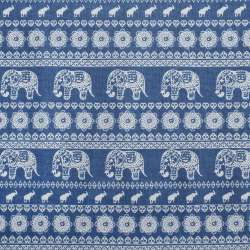Деко-лен синий в молочный орнамент со слонами, ш.150