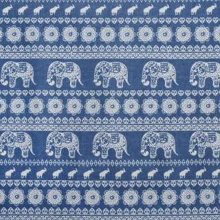 Деко-льон синій в молочний орнамент зі слонами, ш.150