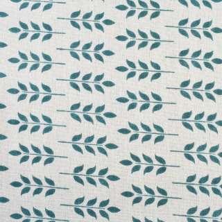 Деко-льон молочний в синьо-зелене листя, ш.150