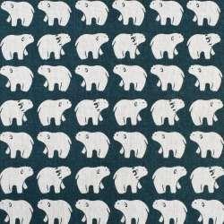 Деко-лен морская волна белые медведи, ш.150
