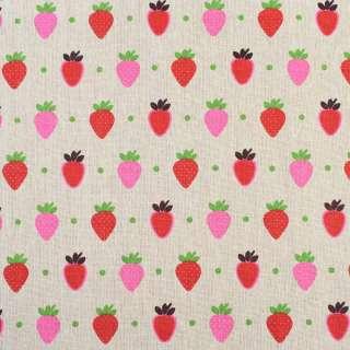 Деко-льон бежевий в червоні та рожеві полуниці, ш.150