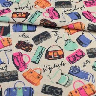 Деко-льон пісочний, різнокольорові сумочки, ш.150