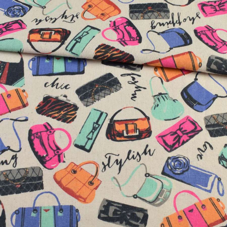 Деко-лен песочный, разноцветные сумочки, ш.150