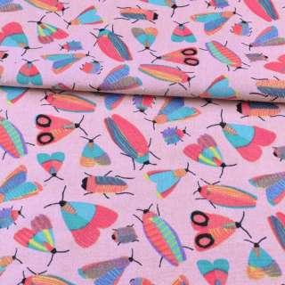 Деко-лен розовый, разноцветные насекомые, ш.150