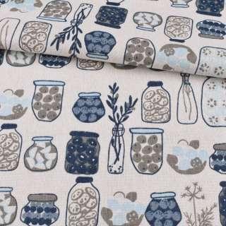 Деко-льон білий, сині, сірі вази, банки, ш.150