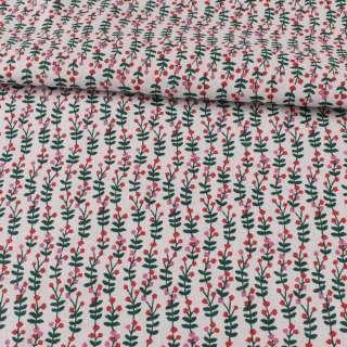 Деко-льон білий, зелені листочки, червоні, рожеві квітки, ш.150