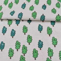 Деко-лен белый, зеленые деревья, ш.150