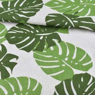 Деко-лен молочный, большие зеленые листья, ш.150