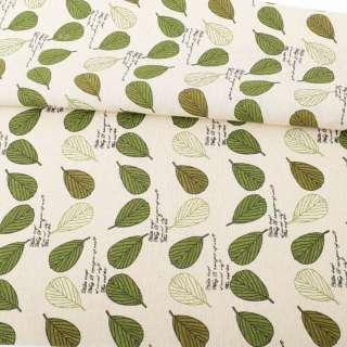 Деко-льон бежевий, зелені, білі листя, ш.156