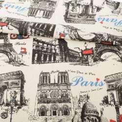 Деко-льон пісочний, чорні графічні малюнки, Париж, рапорт 32см ш.152
