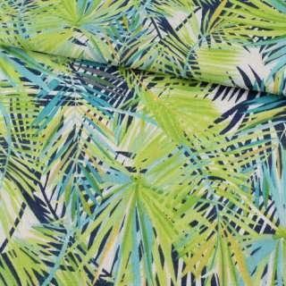 Деко-лен в зеленые, синие, голубые листья ш.150