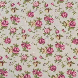 Деко-лен бежевый в кремово-розовые розы ш.155