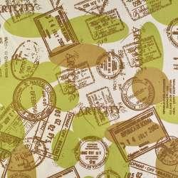 Деко-лен песочный в коричневые печати, шары ш.150