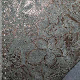 Замша искусственная на флисе серая с цветочным рисункам
