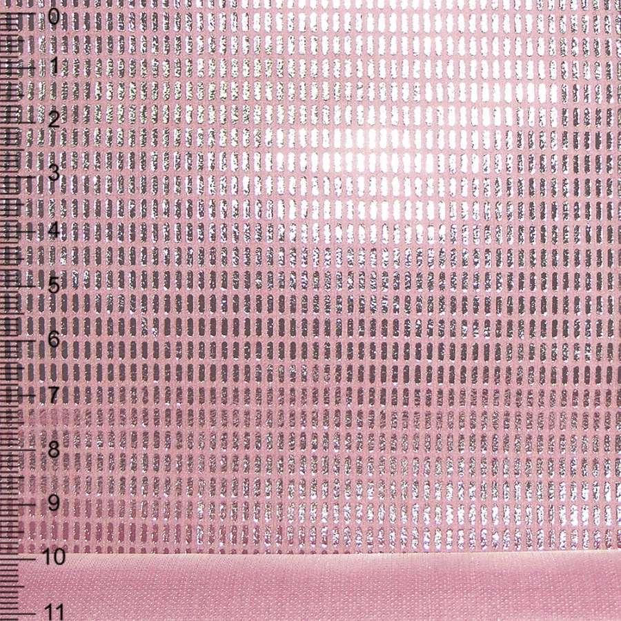 Замша искусственная розовая с серебристыми палочками