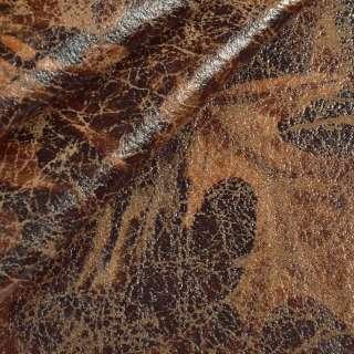 Замша искусственная с напылением листья коричневая темная