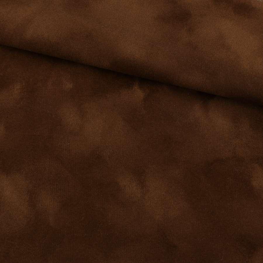 замша флок коричневая с рыжим оттенком ш.150