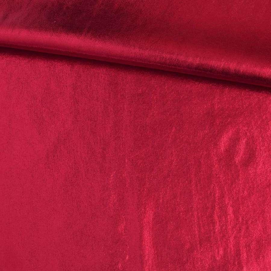 Замша искусственная с лазерным напылением красная, ш.140