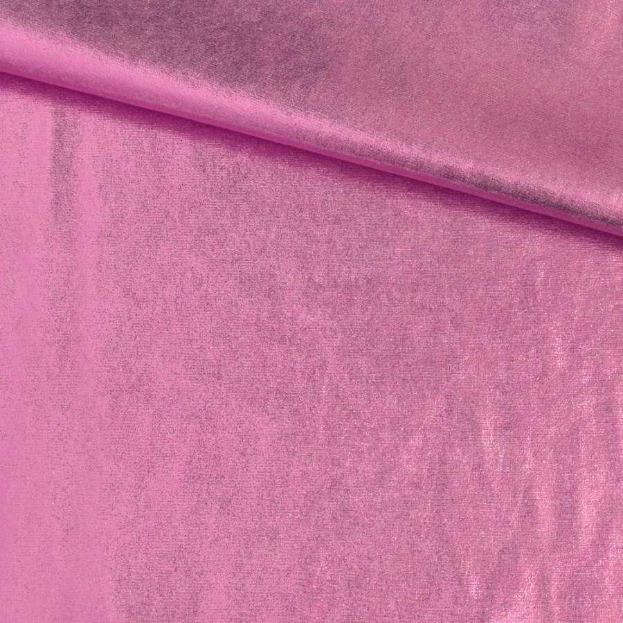 Замша с лазерным напылением розовая, ш.140