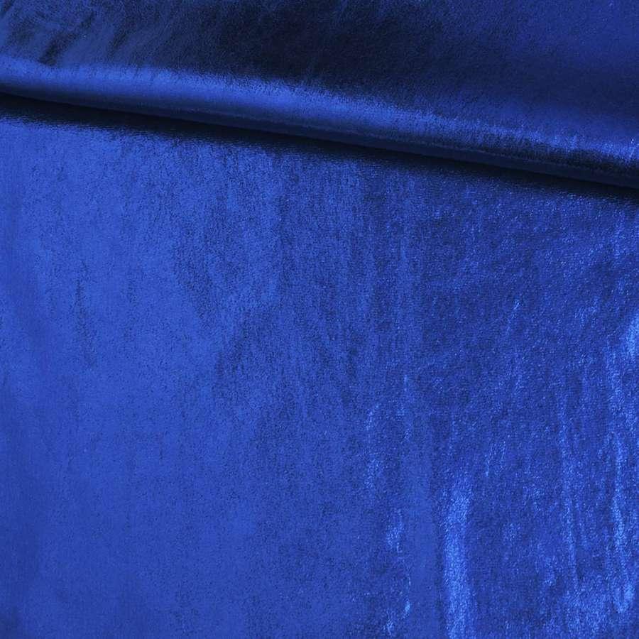 Замша с лазерным напылением синяя, ш.140
