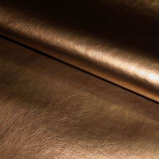 Кожа искусственная коричневая перламутровая на флисе ш.140