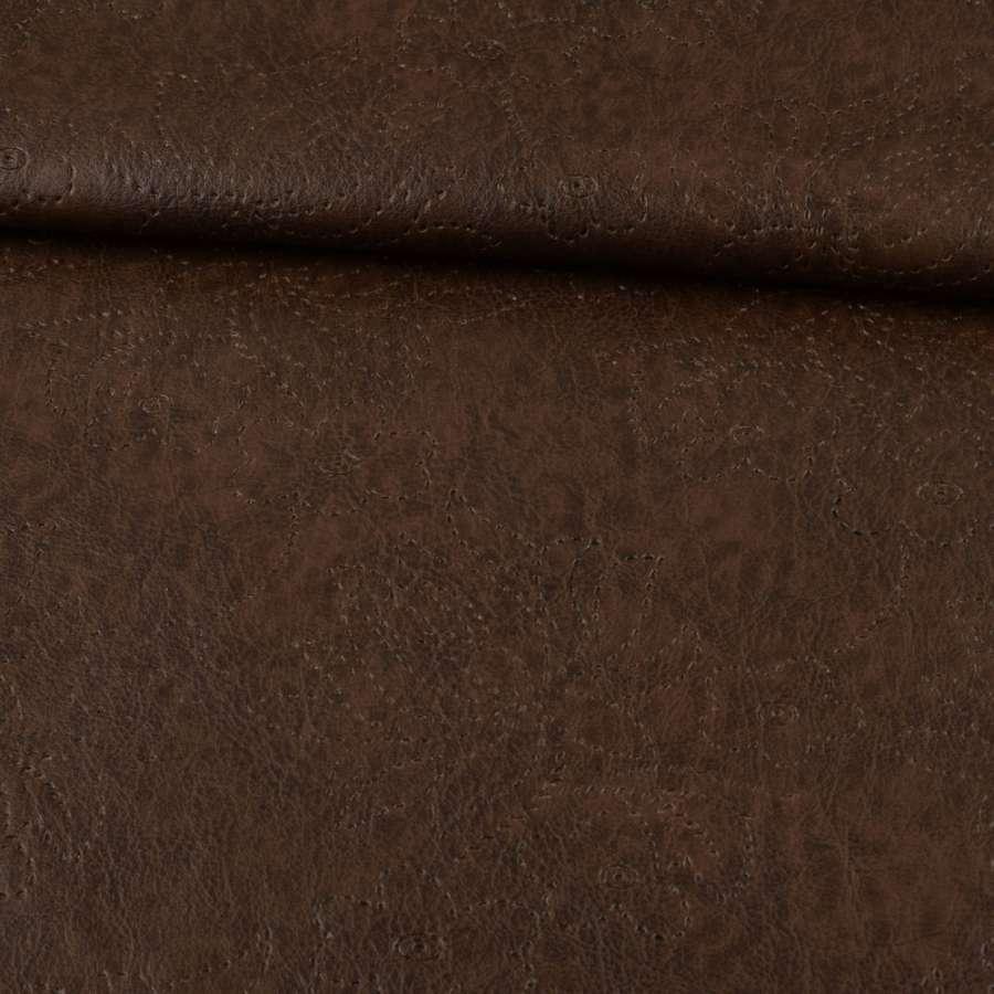 кожа  на  флисе  коричневая