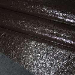 Кожа лаке искусственная темно-коричневая жатая на х/б основе ш.150