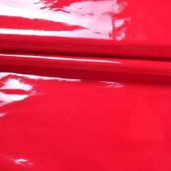 Кожа искусственная лаке на флисе красная ш.142