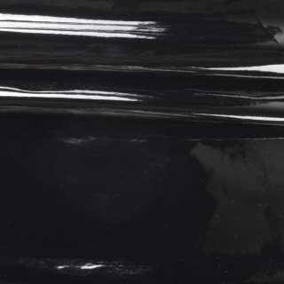 Шкіра штучна лаке на флісі чорна ш.140