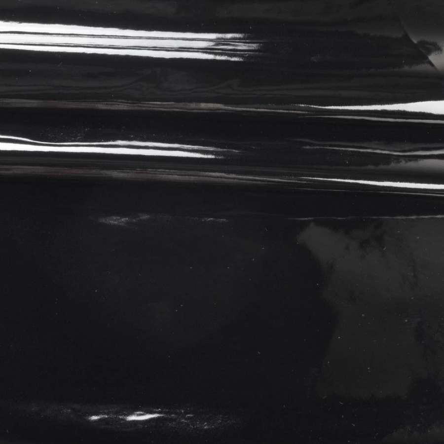 кожа искуст. лак. черная на флисе ш.140