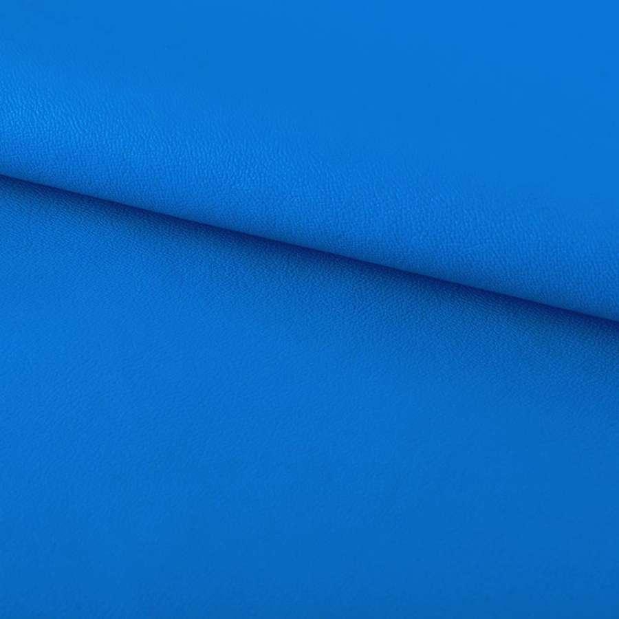 кожа искуст. на флисе ярко-голубая ш.140
