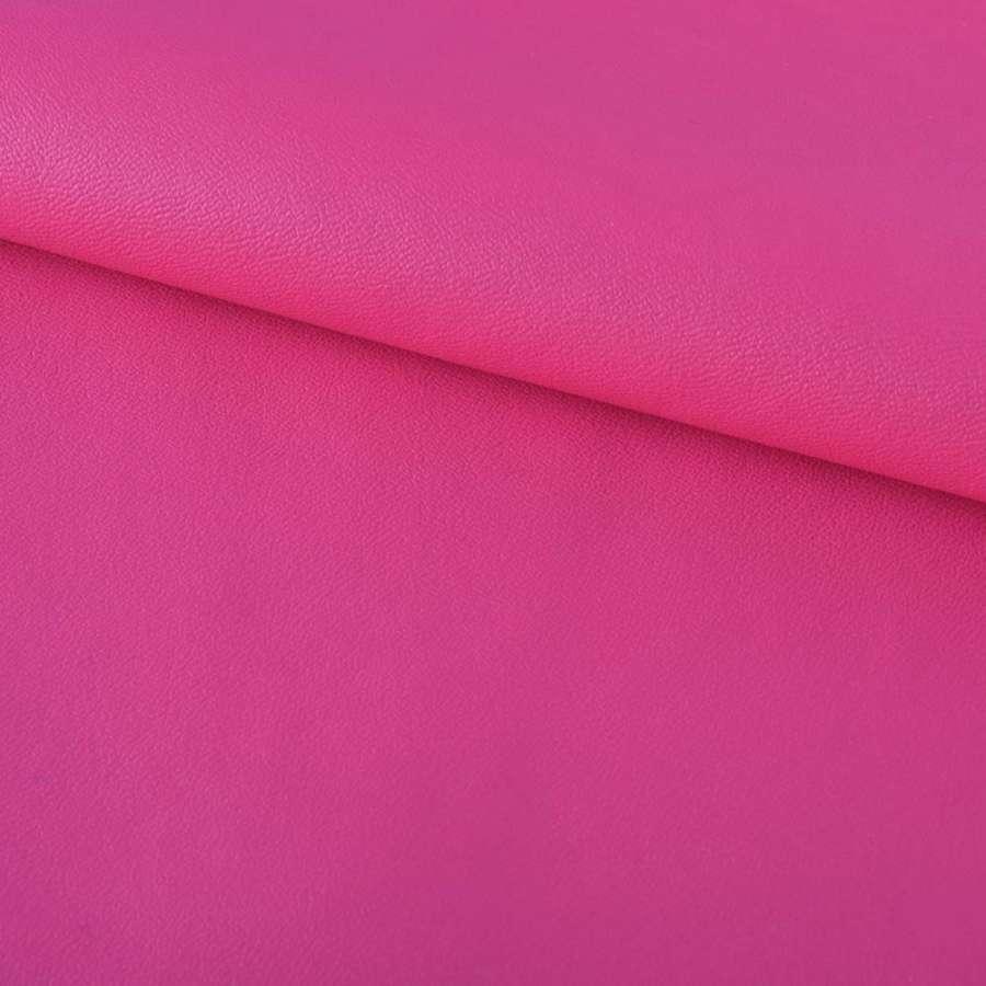 Кожа искусственная на флисе розово-малиновая ш.140