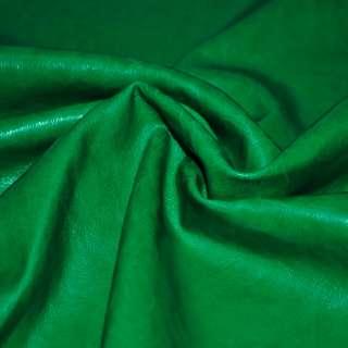 Шкіра штучна зелена на флісі ш.140