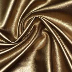 Кожа искусственная темно-золотистая на флисе ш.140