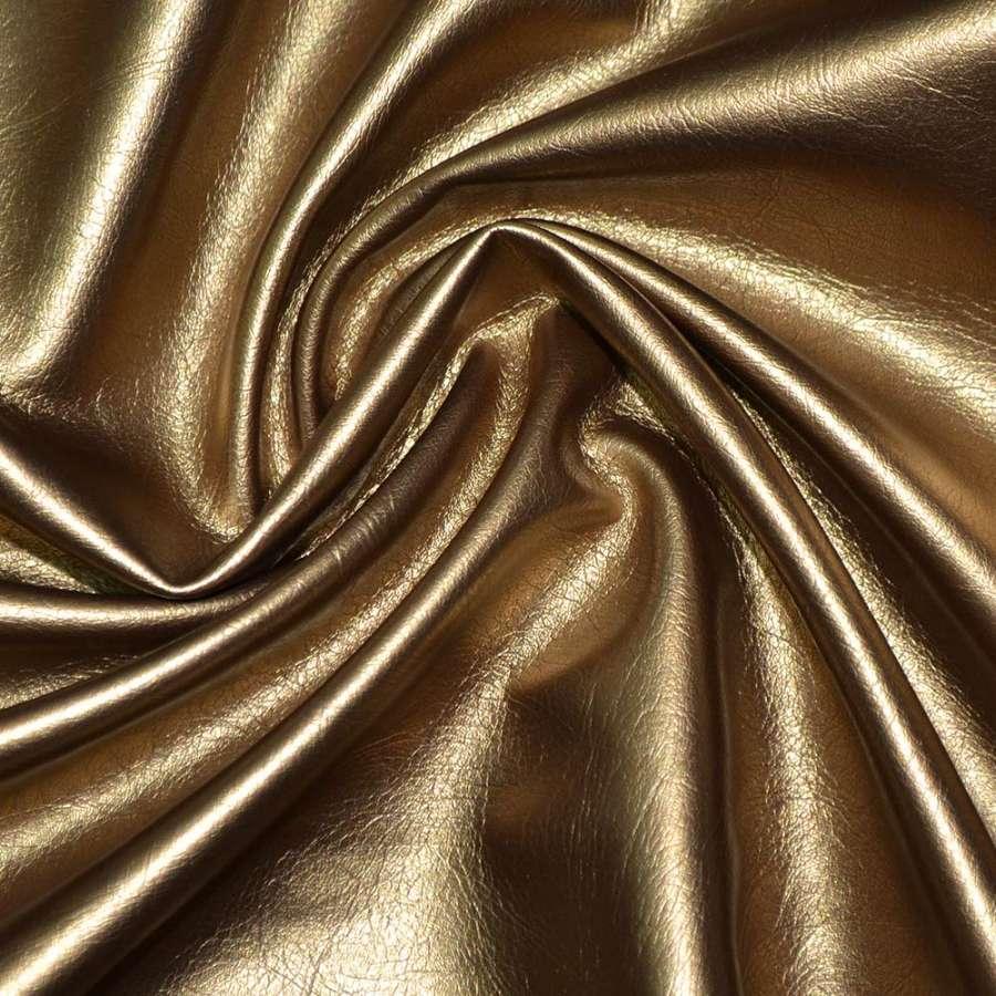 Кожа искусствен. темно-золотистая на флисе ш.140