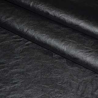 Кожа искусственная черная на флисе ш.145