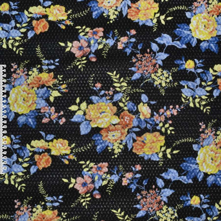 кожа иск. жатая черная в желтые цветы ш.140