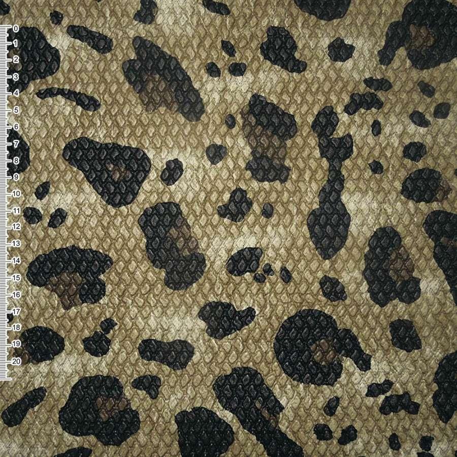 """кожа иск. жатая бежево-коричн. с черн. """"леопард"""" ш.140"""