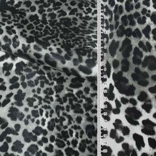 """кожа искуст. на флисе молочно-серый """"леопард"""" ш.140"""