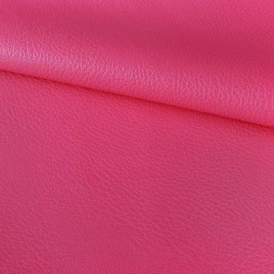 Кожа искусственная на флисе блестящая розово-малиновая ш.150