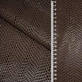 шкіра штучної вен. коричнева з краплями на флісі ш.140