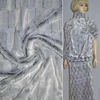 Мех искусств. ср/ворс. белый на черн. основе  ш.160 см