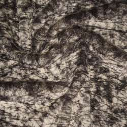 Мех искусственный средневорсовый коричнево-бежевый паутинка, ш.150